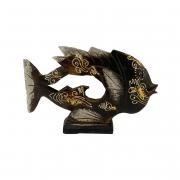 Escultura Peixe em Madeira Albésia - Marrom, Branco e Dourado ( 24cm )
