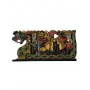 Escultura Procissão de Músicos em Madeira Albésia - Colorido com Detalhes em Dourado ( 24x50cm )
