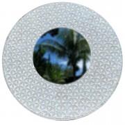 Espelho com Mosaico Floral em Vidro Prateado ( 100 cm )