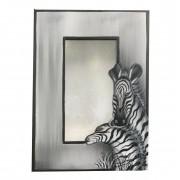 Espelho em MDF Pintura de Zebras, tons de cinza, preto e branco ( 60x40cm )