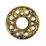 Espelho em MDF com Ornamentos Circulares e Pintura em Dourado ( 40cm )