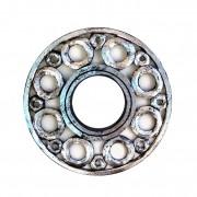 Espelho em MDF com Ornamentos Circulares e Pintura em Folha de Prata ( 40cm )