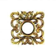 Espelho em MDF com Ornamentos e Pintura Dourada ( 30cm )
