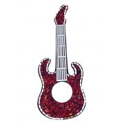 Espelho em Mosaico - Guitarra ( Vermelho, Preto e Dourado ) ( 50cm )
