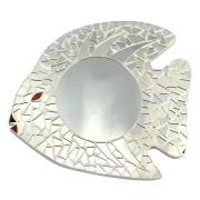 Espelho em Mosaico - Peixe com detalhes em Vidro Colorido