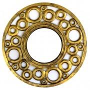 [FRETE INCLUSO] Espelho em MDF com Ornamentos Circulares e Pintura em Dourado ( 60cm )