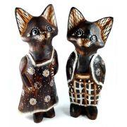Escultura Casal de Gatos em Madeira Suar ( 25cm )