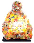 Luminária Buda Maitreya Meditando - Mosaico em Vidro Marrom OU Multicolorido (16x32cm)