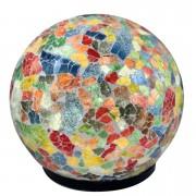 Luminária Redonda em Mosaico de Vidro Colorido (30x30cm)