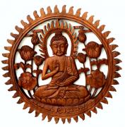 Mandala Buda Sidartha em Madeira Suar ( 60cm )