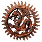Mandala Dragão em Madeira Suar ( 20 cm )