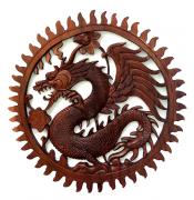 Mandala Dragão em Madeira Suar ( 60 cm )