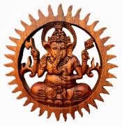 Mandala Ganesha em Madeira Suar ( 20 cm )