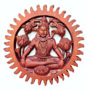 Mandala Shiva em Madeira Suar ( 20cm )