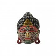 Máscara Buda Sidartha em Madeira Albésia com Pintura Tribal ( 15cm )