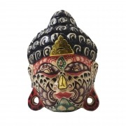 Máscara Buda Sidartha em Madeira Albésia com Pintura Tribal ( 20cm )
