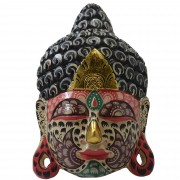 Máscara Buda Sidartha em Madeira Albésia com Pintura Tribal ( 30cm )