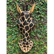 Máscara Girafa em Madeira Albésia - Pintura Bege e Preto (30, 40 ou 50cm)