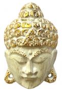 Máscara Buda Sidartha em Madeira Albésia com Pintura em Branco e Dourado ( 20cm )