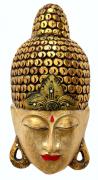 Máscara Buda Sidartha em Madeira Albésia com Pintura em Dourado com Detalhes em Vermelho ( 60cm )