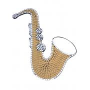 Mosaico com Espelhos - Saxofone Largo ( Dourado ) ( 60x40cm )