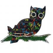 Mosaico de Coruja em MDF com Vidros Coloridos ( 30x40cm )