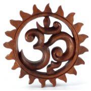 Mandala Om em Madeira Suar ( 15 cm )