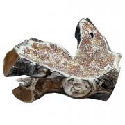 [PEÇA ÚNICA] Travessa em Raíz de Madeira teca com mosaico de vidro Marrom Claro e Dourado ( 43x26x15cm )