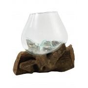 [ PEÇA ÚNICA ] Vaso de Vidro Moldado sobre Madeira Natural ( 21cm )