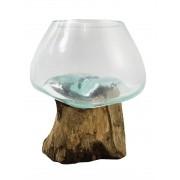 [ PEÇA ÚNICA ] Vaso de Vidro Moldado sobre Madeira Natural ( 15cm )