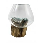 [ PEÇA ÚNICA ] Vaso de Vidro Moldado sobre Madeira Natural ( 19cm )