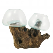[ PEÇA ÚNICA ] Vaso de Vidro Moldado sobre Madeira Natural ( 30cm )