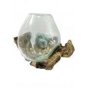 [ PEÇA ÚNICA ] Vaso de Vidro Moldado sobre Madeira Natural ( 33cm )