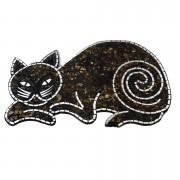 Pingente Gato em Mosaico de Vidro Marrom e Espelhos ( 30x48cm )