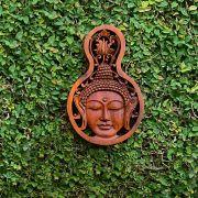Pingente para Parede Buda Sidartha em Madeira Suar em Tom Natural ( 20/30cm )