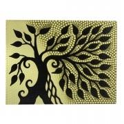 Pintura em Tela Árvore da Vida Amarela em pontilhismo ( 30x40cm )