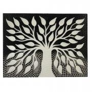 Pintura em Tela Árvore da Vida em Preto e Branco e pontilhismo ( 30x40cm )
