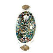 Porta Incensos Oval de Cerâmica com Mosaico de Vidro Colorido Aquarela