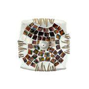 Porta Incensos Quadrado em Cerâmica com Mosaico de Vidro Colorido Aquarela