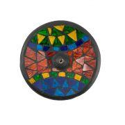 Porta Incensos Redondo de Cerâmica com Mosaico de Vidro Triangular Colorido