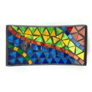 Porta Incensos Retangular de Cerâmica com Mosaico Triangular Colorido