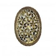 Prato Oval com Mosaico em Vidro Dourado e Bordas em Rattan ( 25 cm )