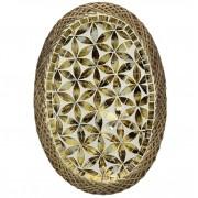 Prato Oval com Mosaico em Vidro Dourado e Bordas em Rattan ( 30 cm )