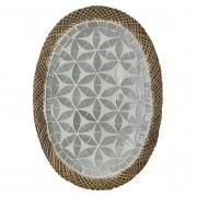 Prato Oval com Mosaico em Vidro Prateado e Bordas em Rattan ( 30 cm )
