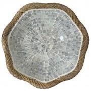 Prato Redondo com Mosaico em Vidro Prateado e Bordas em Rattan ( 30 cm )