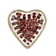 Pratos Cerâmica c/ Mosaico Vidro em Formato de Coração e Bordas em Rattan ( 15 cm )