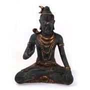 Shiva em Resina Preta com Detalhes em Dourado ( 33x25x14cm )