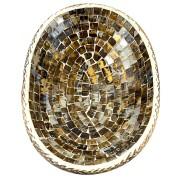 Travessa em Madeira Albésia e Mosaico em Vidro com Detalhes em Dourado ( 30x20cm )