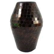 Vaso Cerâmica em Mosaico de Vidro Marrom Tabaco ( 25x16cm )