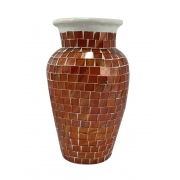 Vaso em Cerâmica com Mosaico de Vidro cor Laranja ( 20cm )